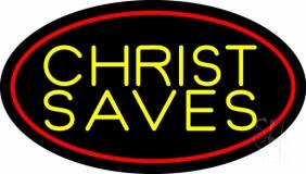 Yellow Christ Saves Neon Sign