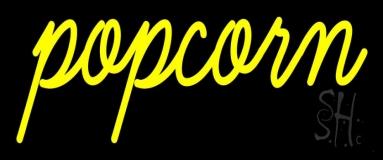 Yellow Cursive Popcorn Neon Sign