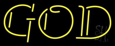 Yellow God Block Neon Sign