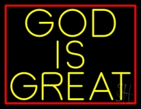 Yellow God Is Great LED Neon Sign