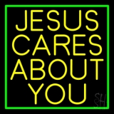 Yellow Jesus Cares About You Neon Sign