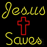 Yellow Jesus Saves With Cross Neon Sign