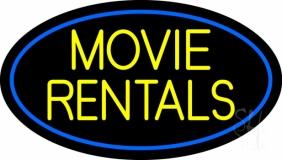 Yellow Movie Rentals Neon Sign