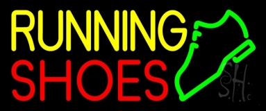 Yellow Running Red Shoes Neon Sign