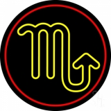 Yellow Scorpio Red Border Neon Sign