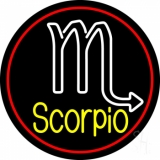Yellow Scorpio Zodiac Red Border Neon Sign