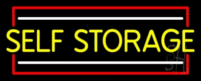 Yellow Self Storage Block With White Line Neon Sign