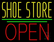 Yellow Shoe Store Open Neon Sign