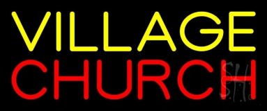 Yellow Village Red Church LED Neon Sign
