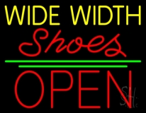 Yellow Wide Width Red Shoes Open Neon Sign