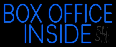 Blue Box Office Inside Neon Sign