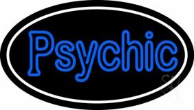 Blue Double Stroke Psychic White Border Neon Sign