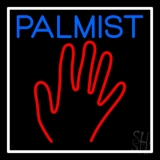 Blue Palmist Red Palm White Border Neon Sign