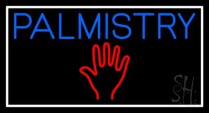 Blue Palmistry Red Palm White Border Neon Sign