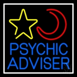 Blue Psychic Advisor With Logo White Border Neon Sign