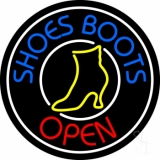 Blue Shoes Boots Open Neon Sign