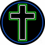 Christian Cross Blue Border Neon Sign