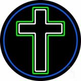 Christian Cross Blue Border Neon Sign