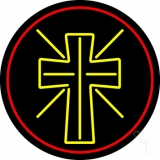 Christian Cross With Border Neon Sign