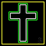 Christian Cross Yellow Border Neon Sign