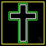 Christian Cross Yellow Border Neon Sign