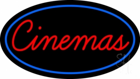 Cinemas With Blue Border LED Neon Sign