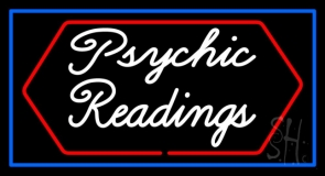 Cursive Psychic Readings With Blue Border Neon Sign