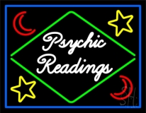 Cursive Psychic Readings With Border Neon Sign