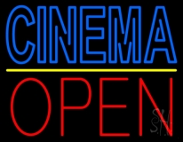 Double Stroke Blue Cinema Open LED Neon Sign
