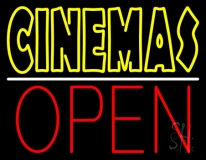 Double Stroke Yellow Cinemas Open LED Neon Sign