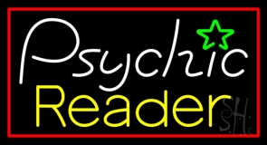 European Psychic Reader With Red Border Neon Sign