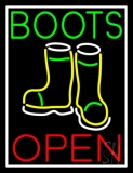 Green Boots With Logo Open Neon Sign