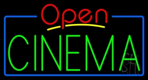 Green Cinema Open LED Neon Sign