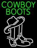 Green Cowboy Boots With Logo Neon Sign