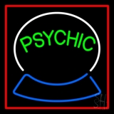 Green Psychic Logo Red Border Neon Sign
