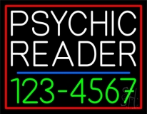 Green Psychic Reader With Phone Number Neon Sign