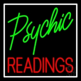 Green Psychic Red Readings With White Border Neon Sign