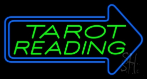 Green Tarot Reading With Blue Arrow LED Neon Sign