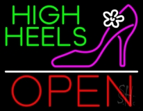 High Heels Open With White Line Neon Sign
