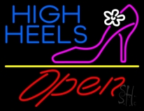 High Heels Open With Yellow Line Neon Sign