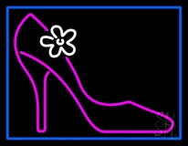 High Heels With Blue Border Neon Sign