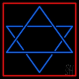Judaism Star Of David Red Border Neon Sign