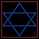 Judaism Star Of David Red Border Neon Sign