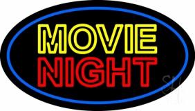 Movie Night Blue Border Neon Sign