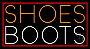 Orange Shoes White Boots With Border Neon Sign