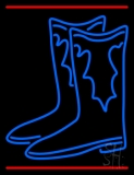 Pair Of Boots Logo With Line Neon Sign