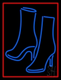 Pair Of Boots With Red Border Neon Sign