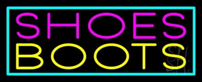 Pink Shoes Yellow Boots Turquoise Border Neon Sign