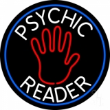 Psychic Reader With Palm Blue Circle Neon Sign