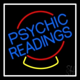 Psychic Readings Crystal White Border Neon Sign